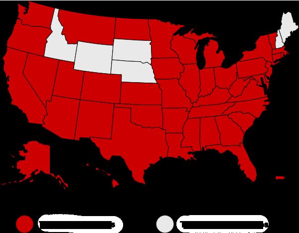 Mapa de Estados Unidos en el que se indica cuáles son los estados que cuentan con vacunas